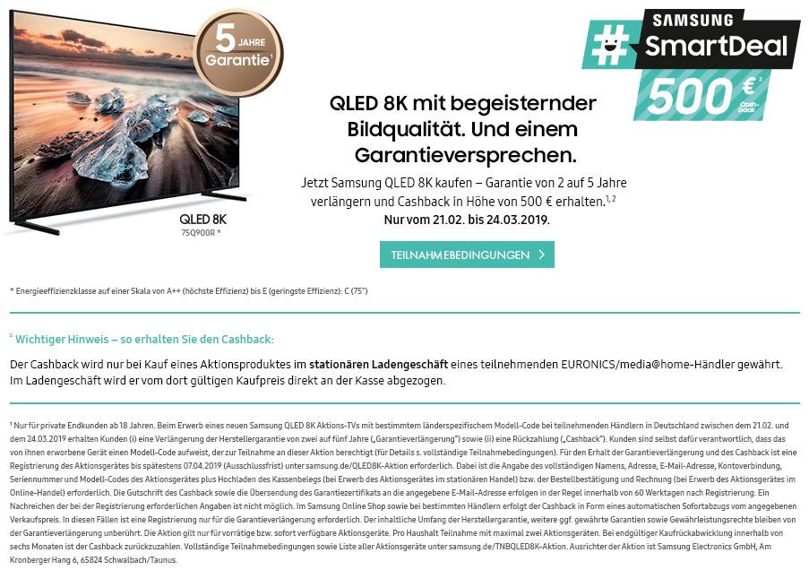 Jetzt Samsung QLED 8K kaufen – Garantie von 2 auf 5 Jahre verlängern und Cashback in Höhe von 500 € erhalten.